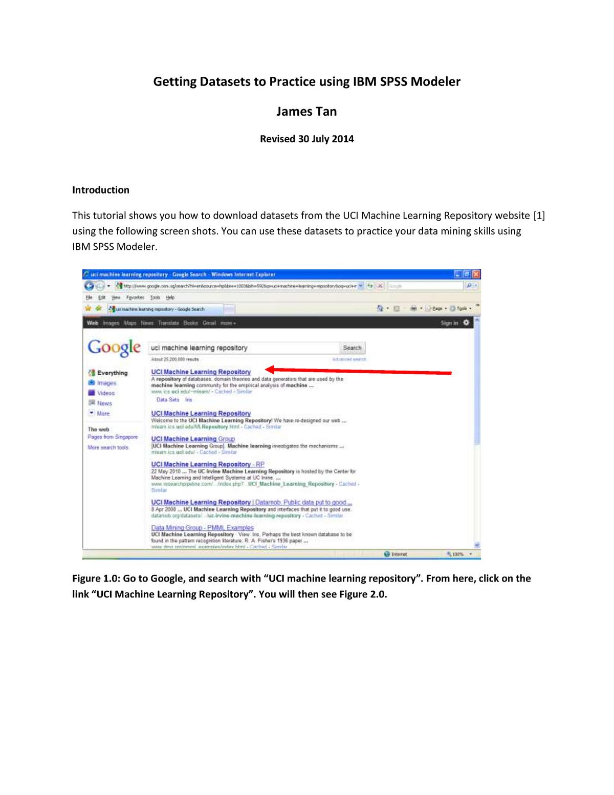 Getting datasets to practice using IBM SPSS Modeler - ANL303