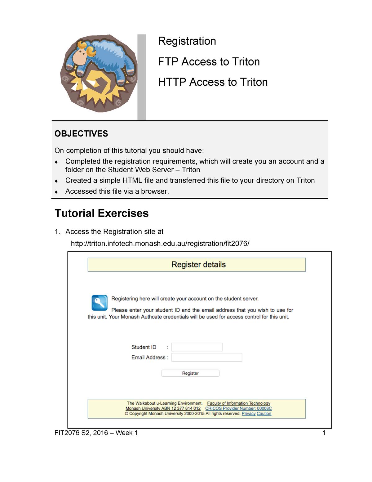 Tutorial 1 - FIT2076: Web-Database Interface - StuDocu