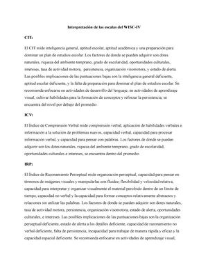 Práctica - Interpretación de las escalas del WISC-IV