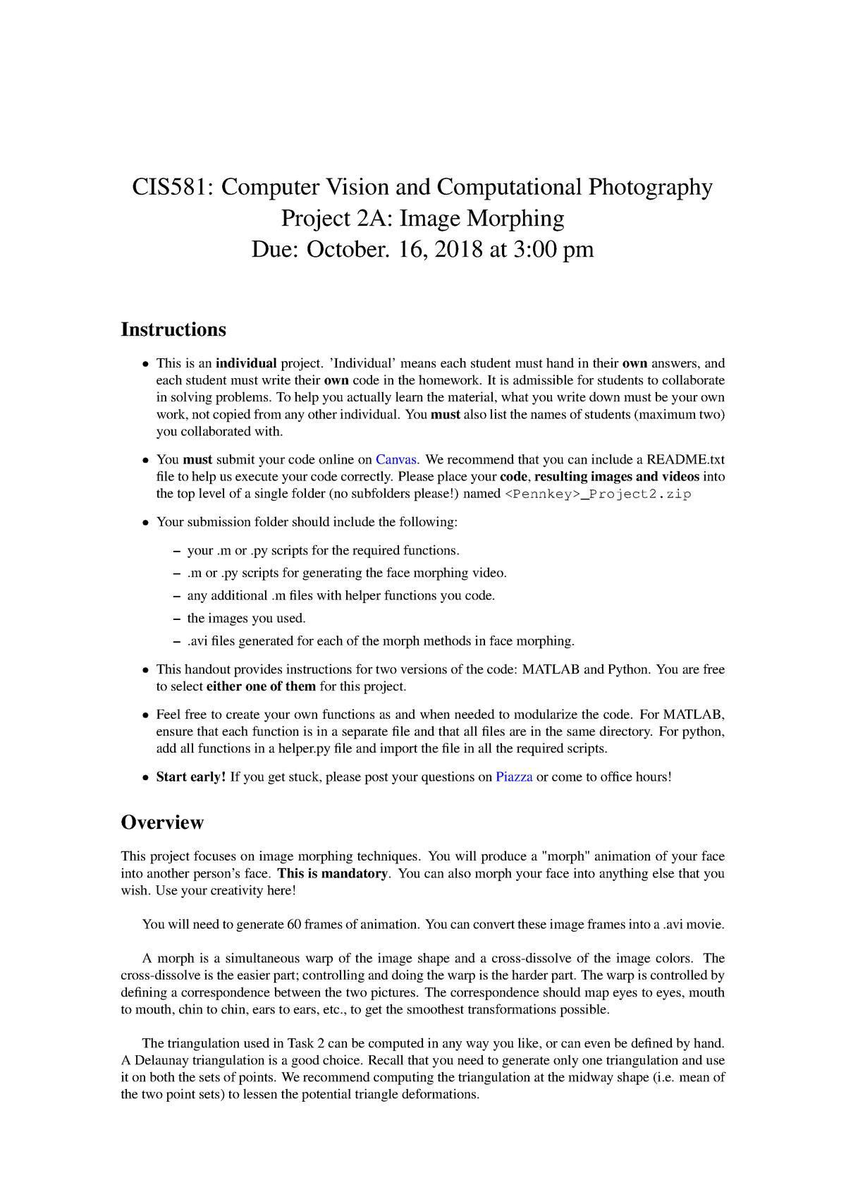 Cis581-computer-vision - CIS 581: Computer Vision & Computational
