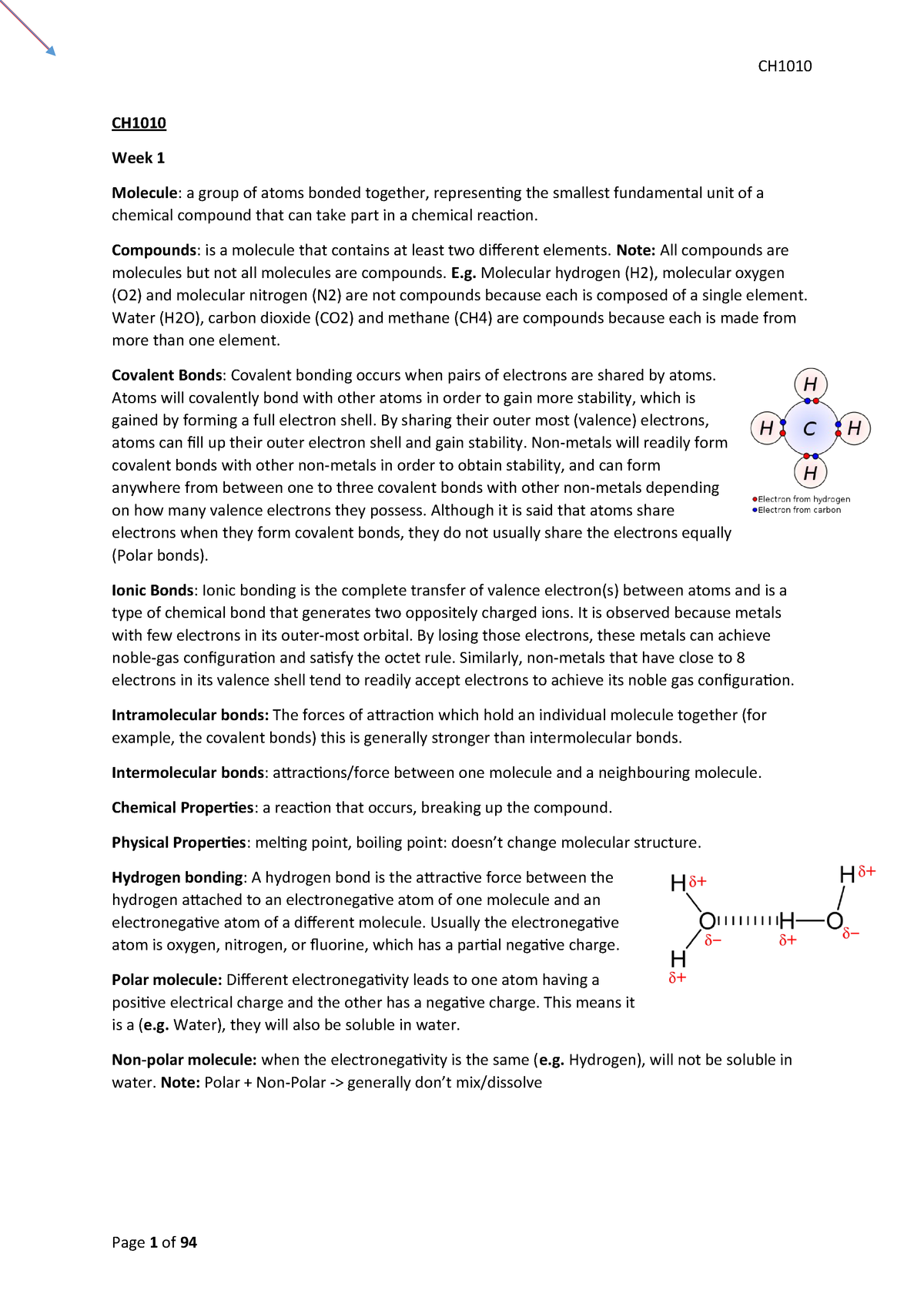 Ch1010 Typed Notes - CH1010:03: Biological Chemistry for
