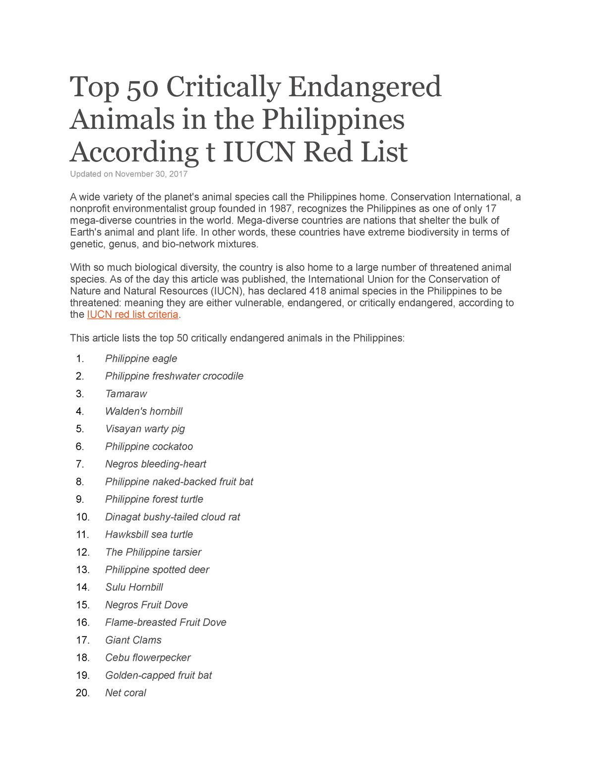Top 50 Critically Endangered Animals in the Philippines