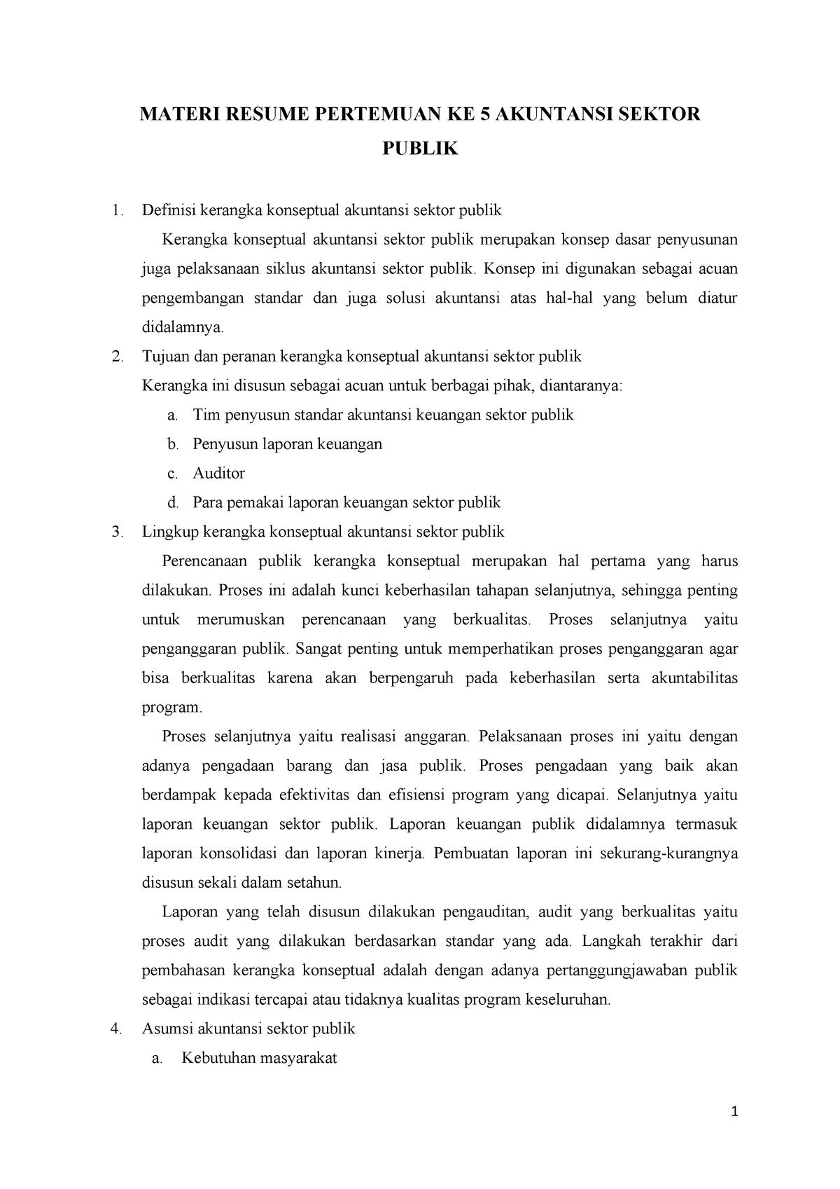 Kerangka Konseptual Akuntansi Sektor Publik Studocu