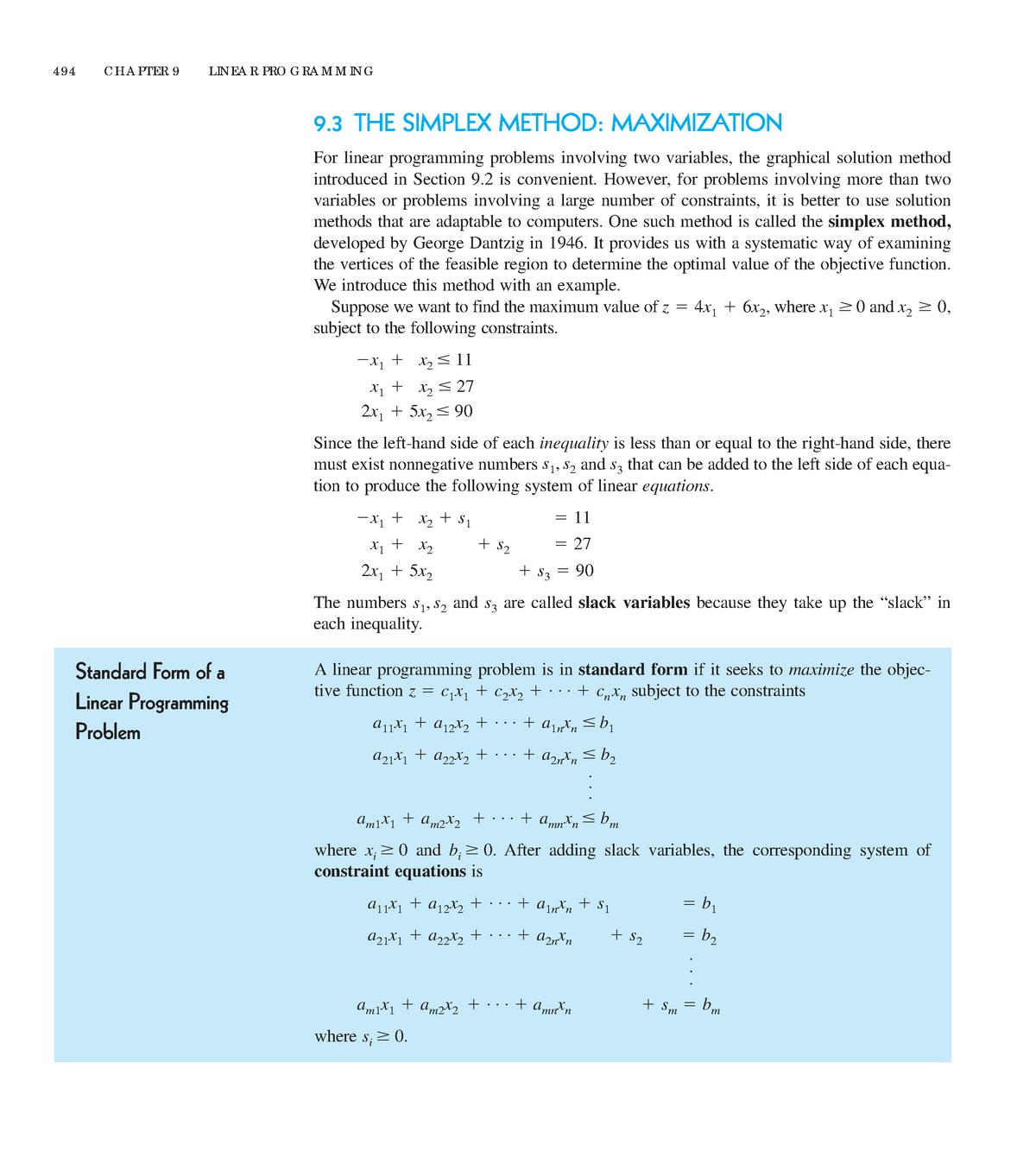 Simplex Method - Lecture notes 1-5 - Mate1 - UAIC - StuDocu