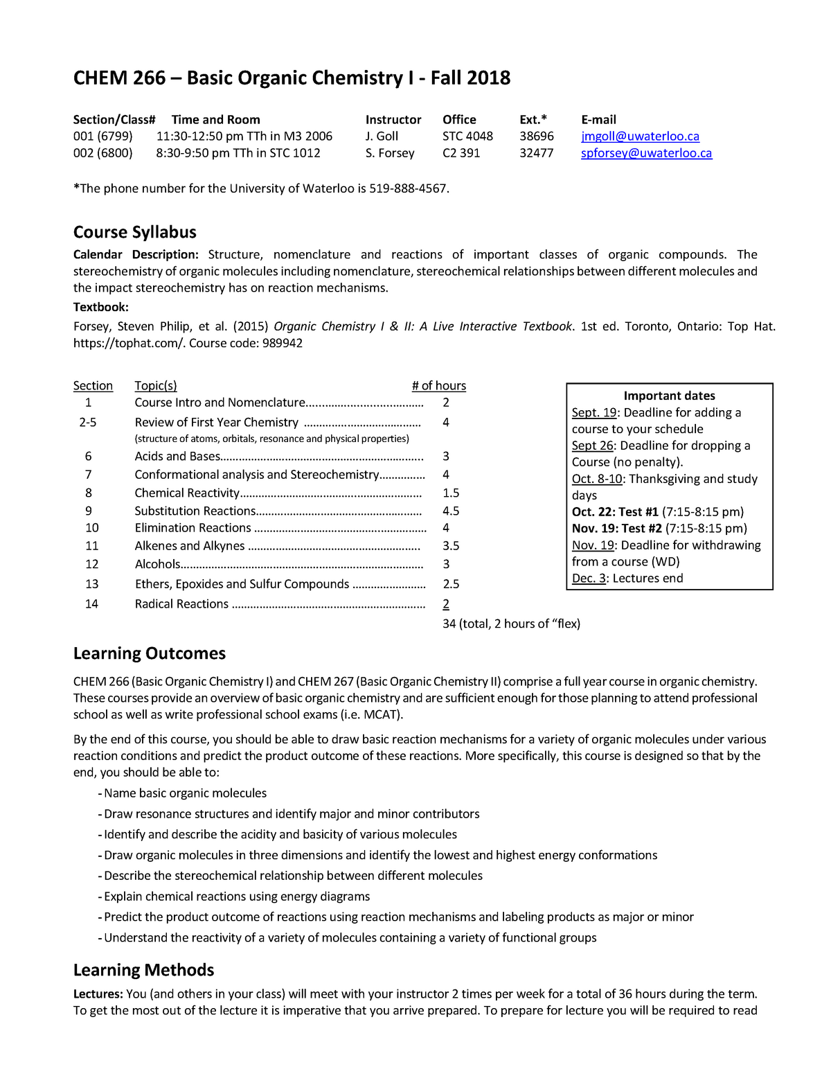 CHEM 266 course outline F2018 - CHEM 266 Organic Chemistry
