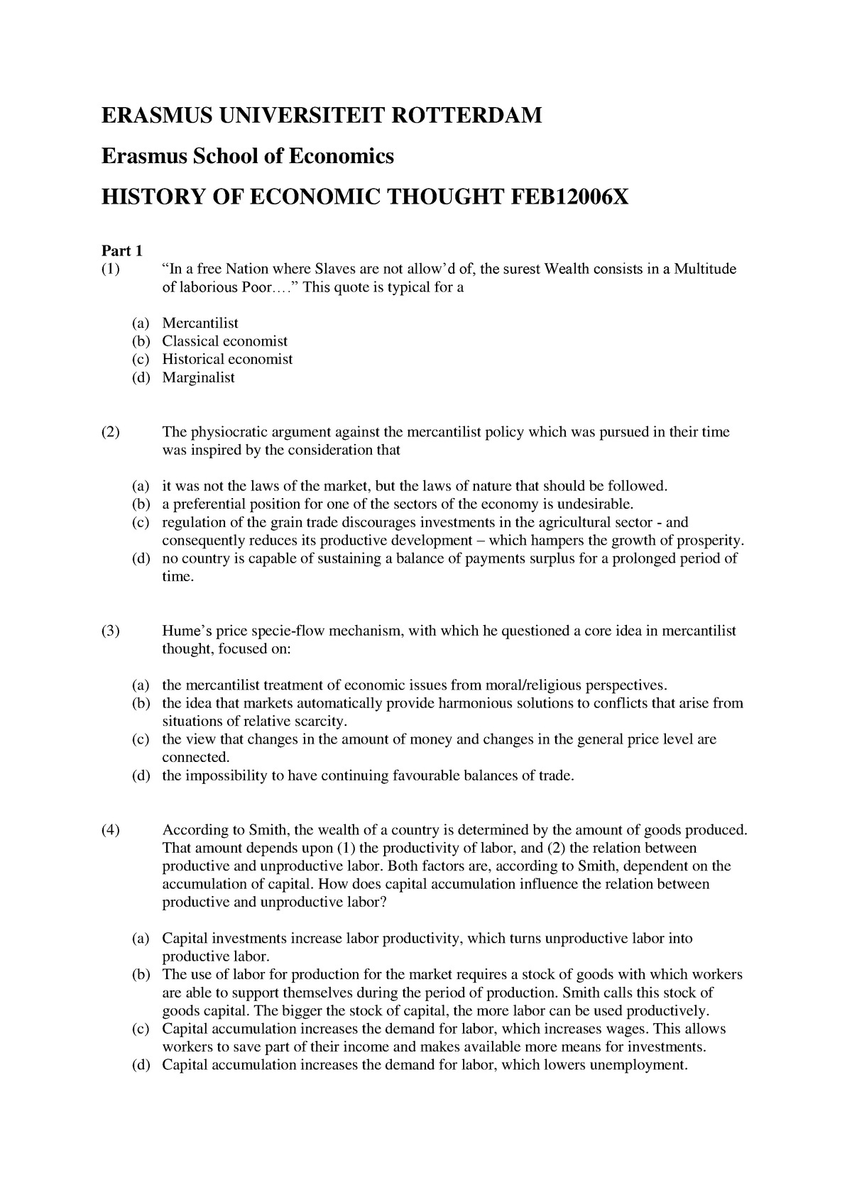Practice exam February 2015, Questions and answers - EUR
