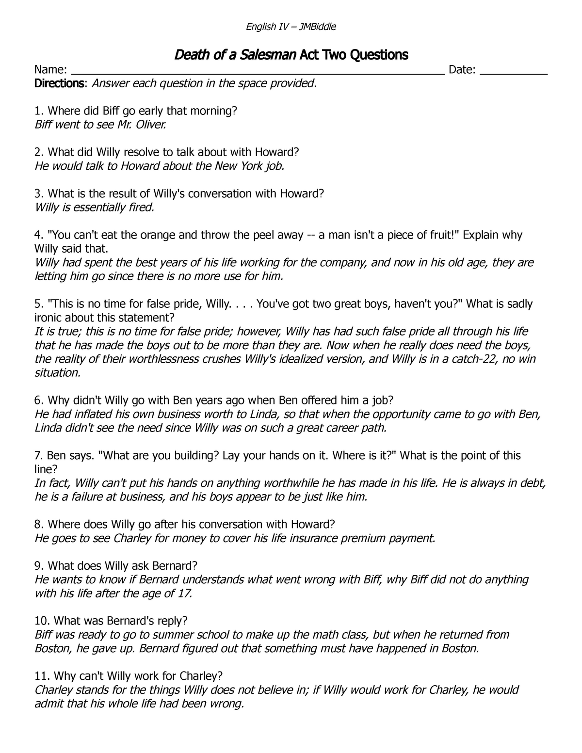 7- Death OF A Salesman Act II questions with answers - SPAN 554