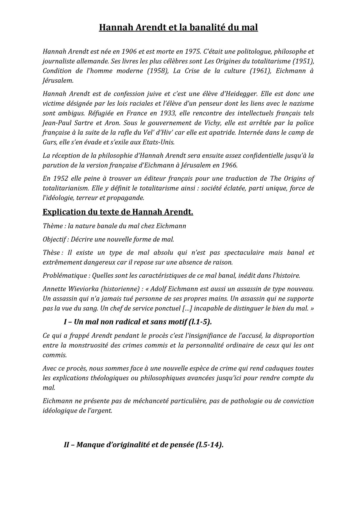 Hannah Arendt Et La Banalité Du Mal Td 11 Studocu