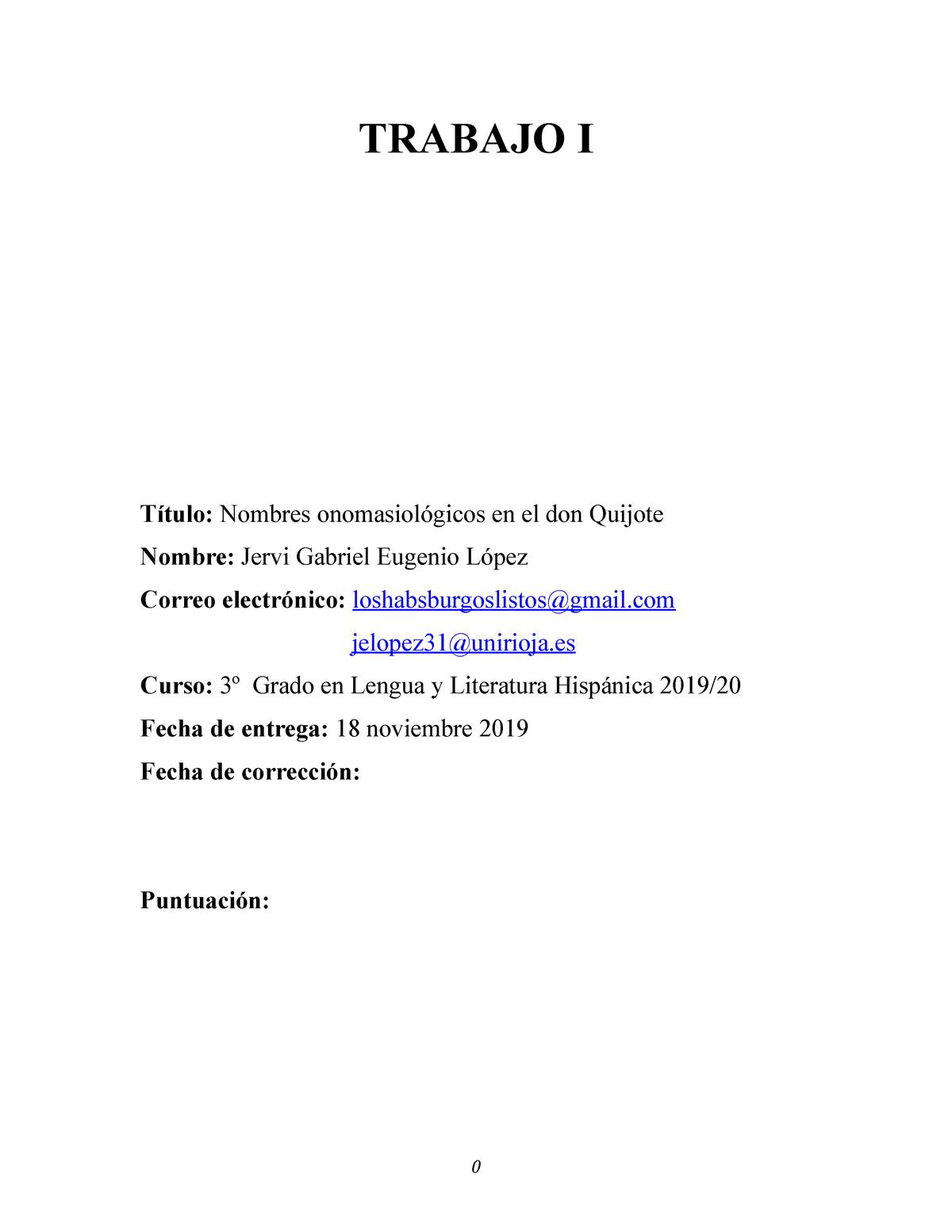 Trabajo I Cervantes Los Nombres Onomasiologicos Studocu