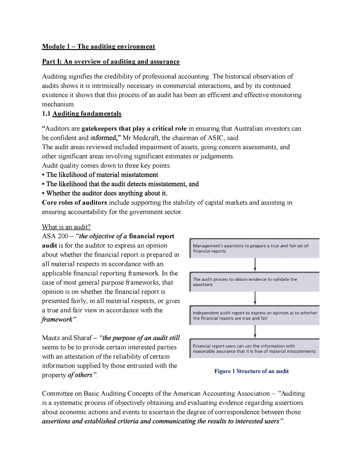 Lecture notes, lectures 1-6 - ACCT30004: Auditing And Assurance