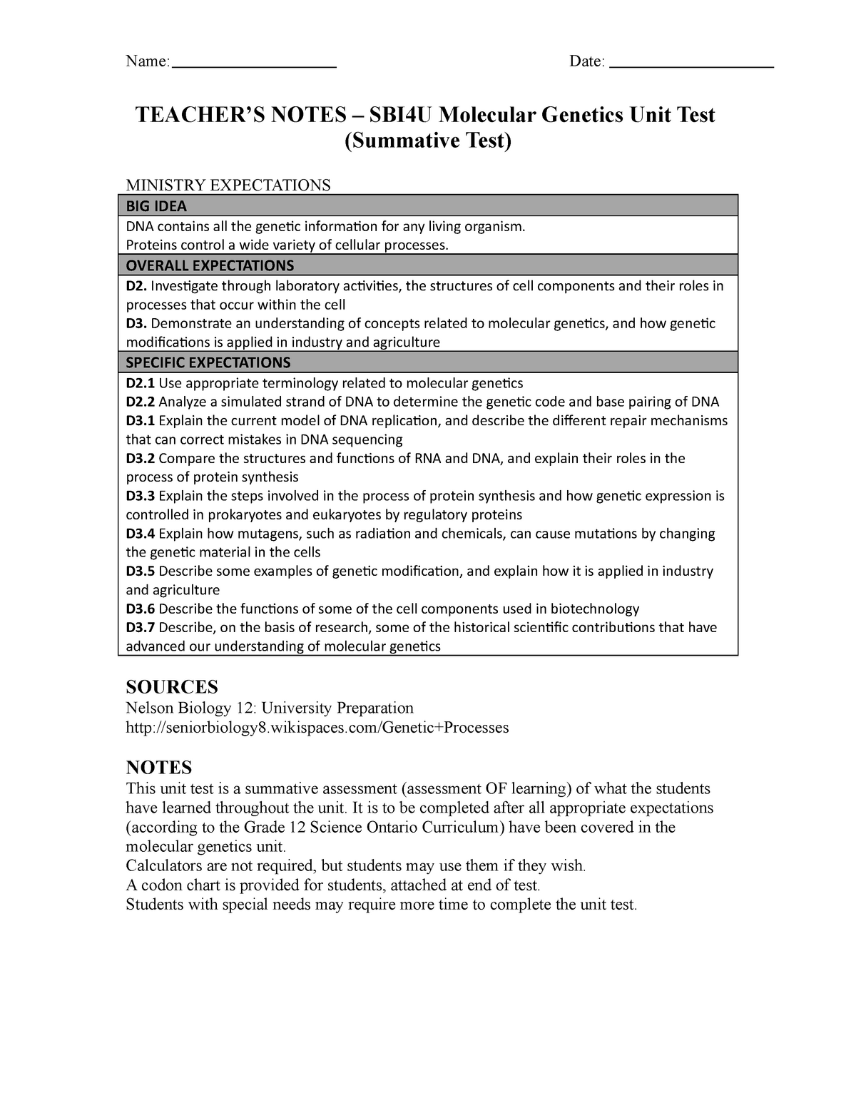 SBI4U – Molecular Genetics Unit Test Teacher - NUR3048