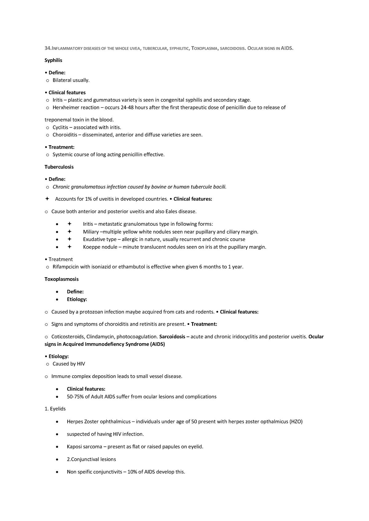 Opthamology essay 34 - Grade: 5 - medicine: Ophthalmology - StuDocu