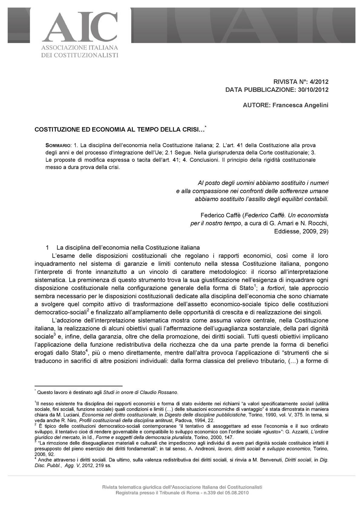 Francesca Angelini COSTITUZIONE ED ECONOMIA AL TEMPO DELLA CRISI