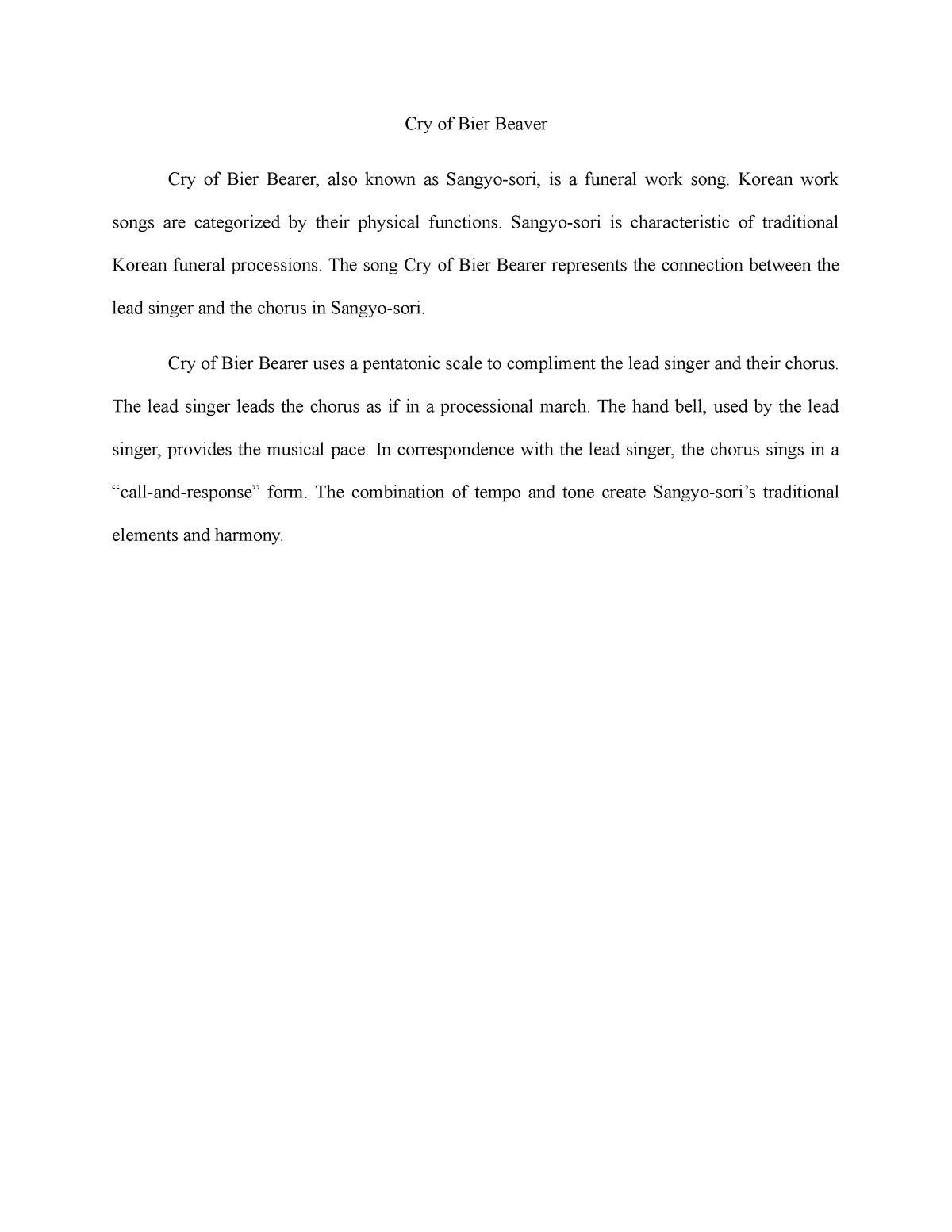 Korean paper assignment - MUSI 3583: Traditional World Music - StuDocu