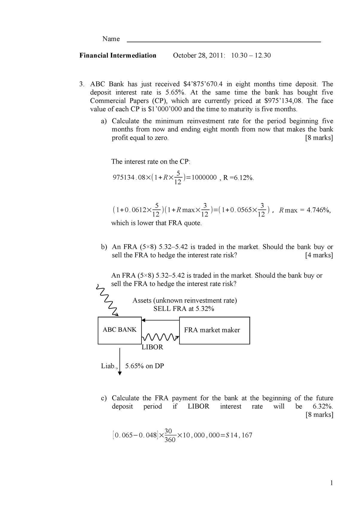 Экзамен 2011, ответы - Financial Intermediation - ВШЭ - StuDocu