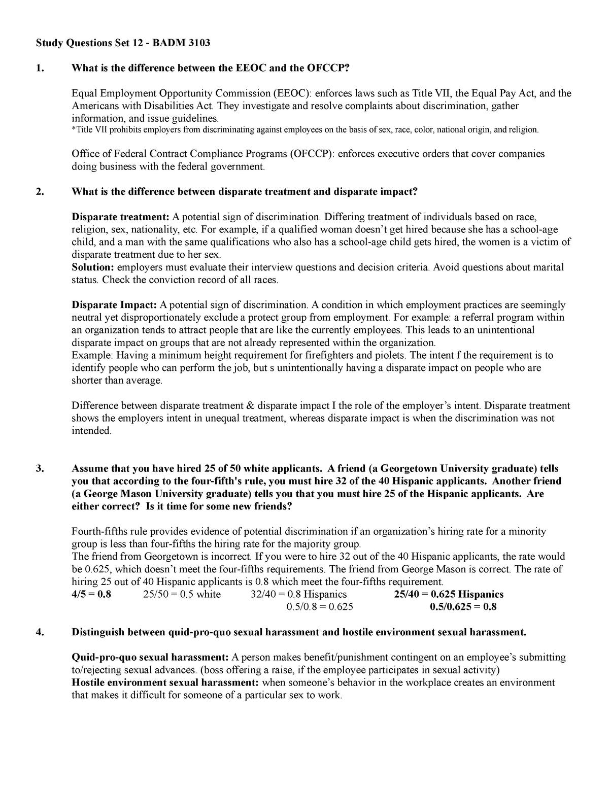 Study Questions Set 12 - BADM 3103 Spring 2019 - BADM 3103