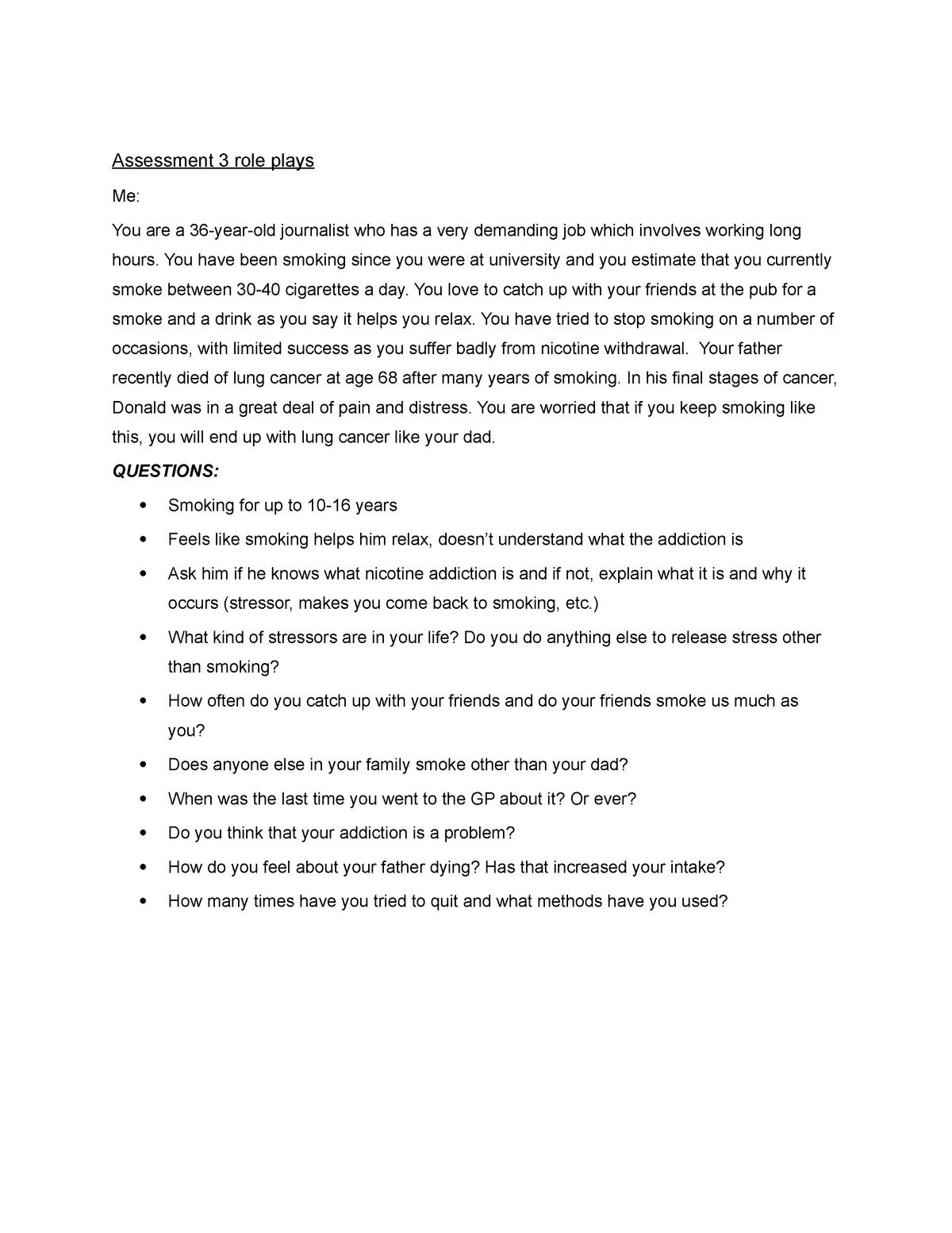 HLSC111 Interview Scenarios - Bachelor Of Nursing - ACU ...
