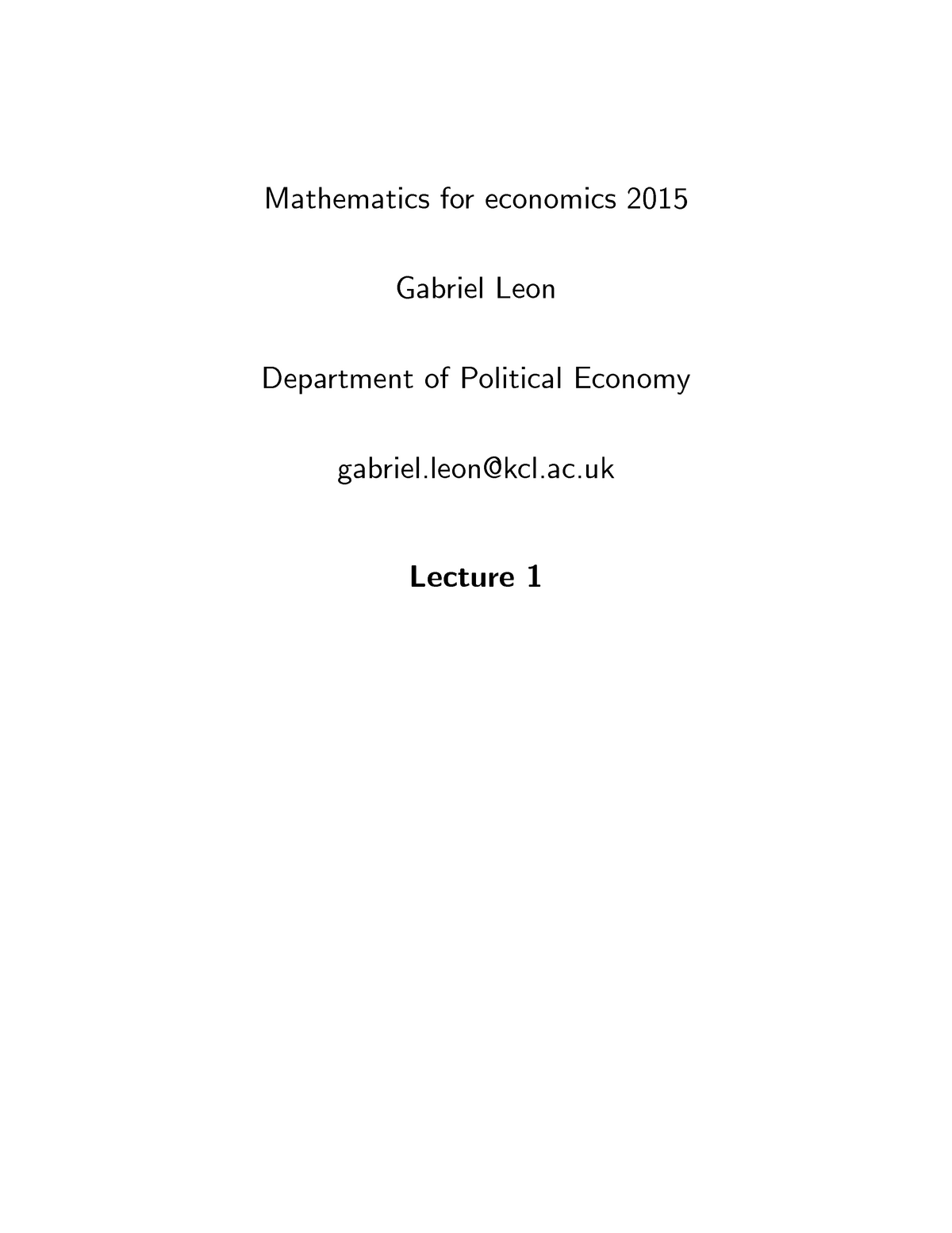 Mathematics for Economics - Lecture notes - Lecture 1 - StuDocu