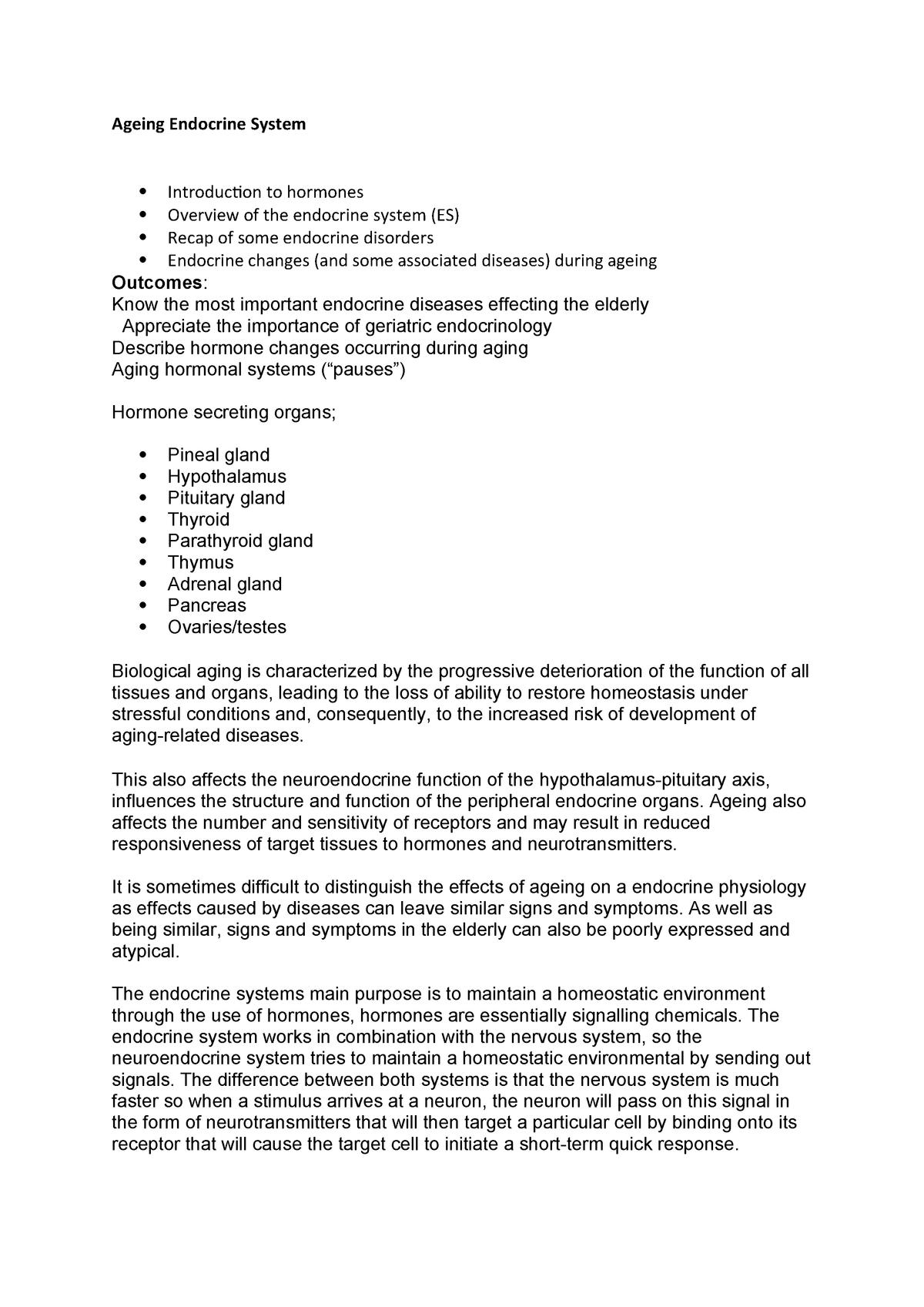 Ageing Endocrine System - Human Neuroscience 6H5Z1013 - MMU