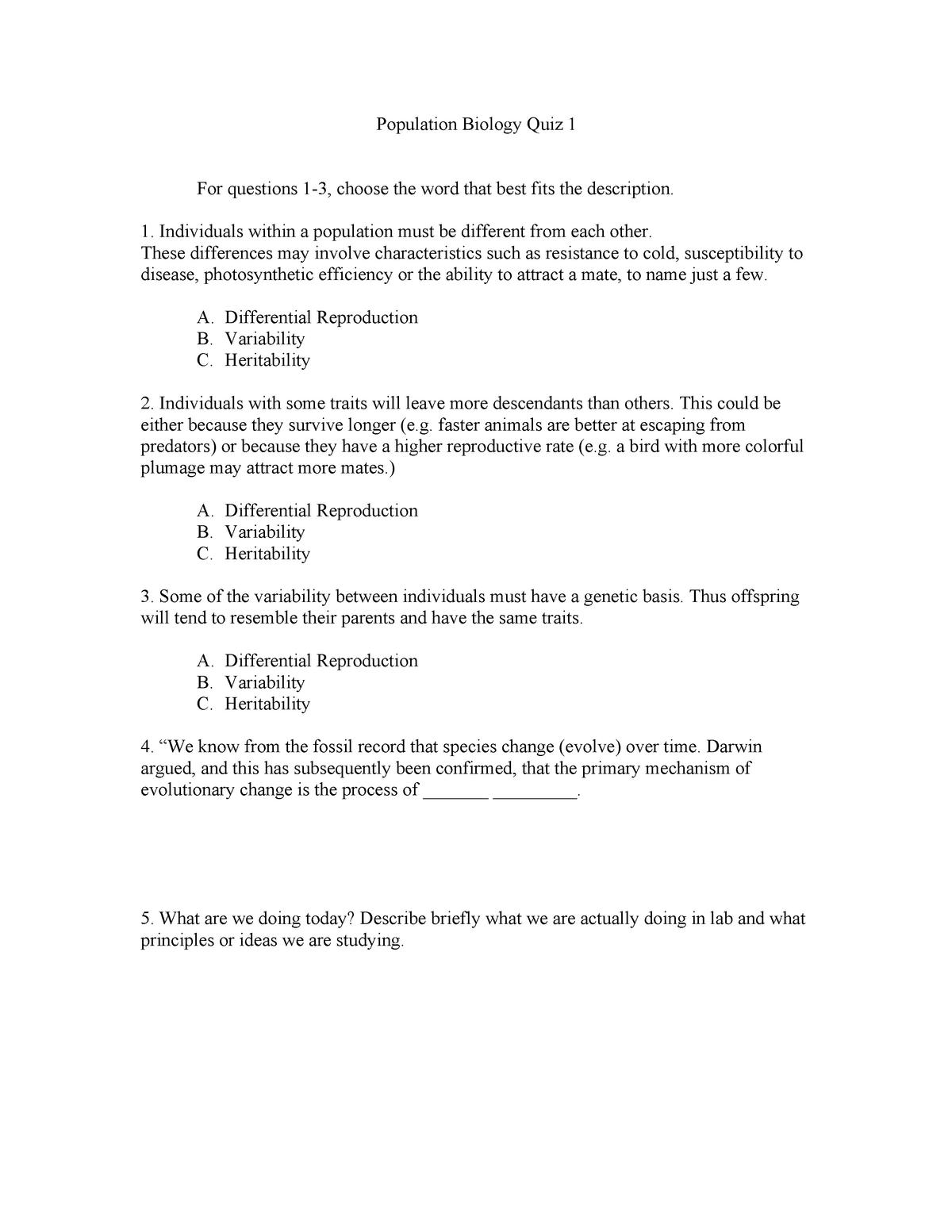 Population Biology Quiz 1 - BIO 305: Population Bio