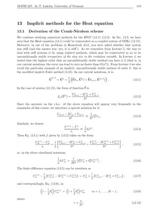 MATH 337 2011-2012 Lecture Notes 13 - Implicit methods for the Heat