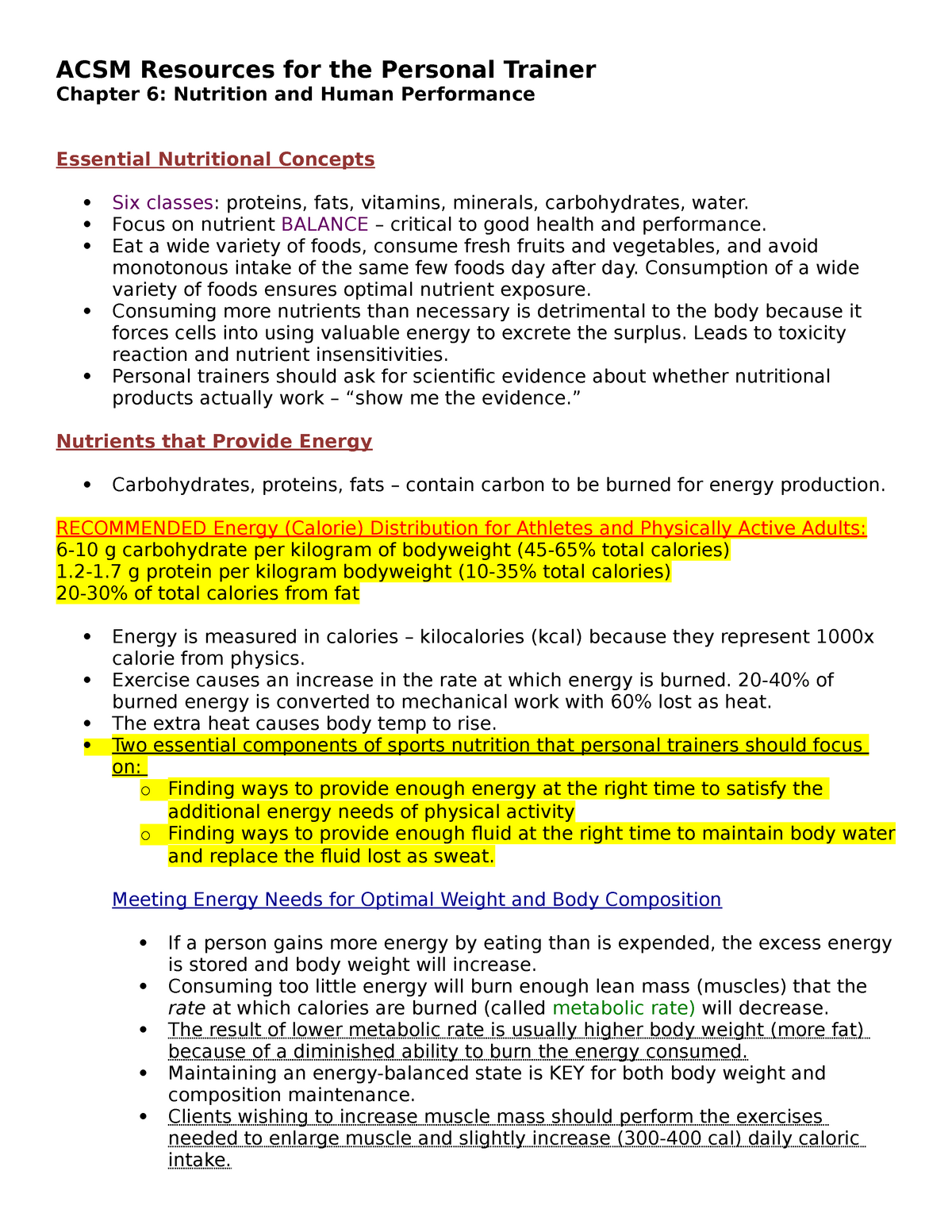 ACSM Chapter 6: Nutrition and Human Performance - ESS 469