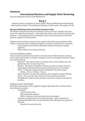IB & SCM Summary - Samenvatting International Bus & Supply