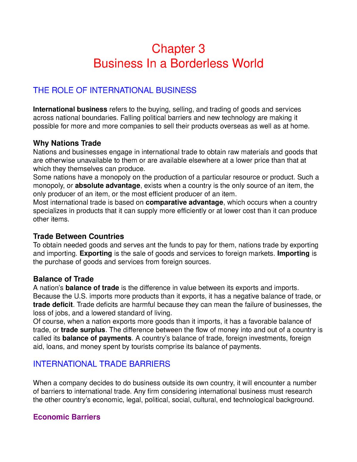 Business in a borderless World - BUS 104 - BMCC - StuDocu