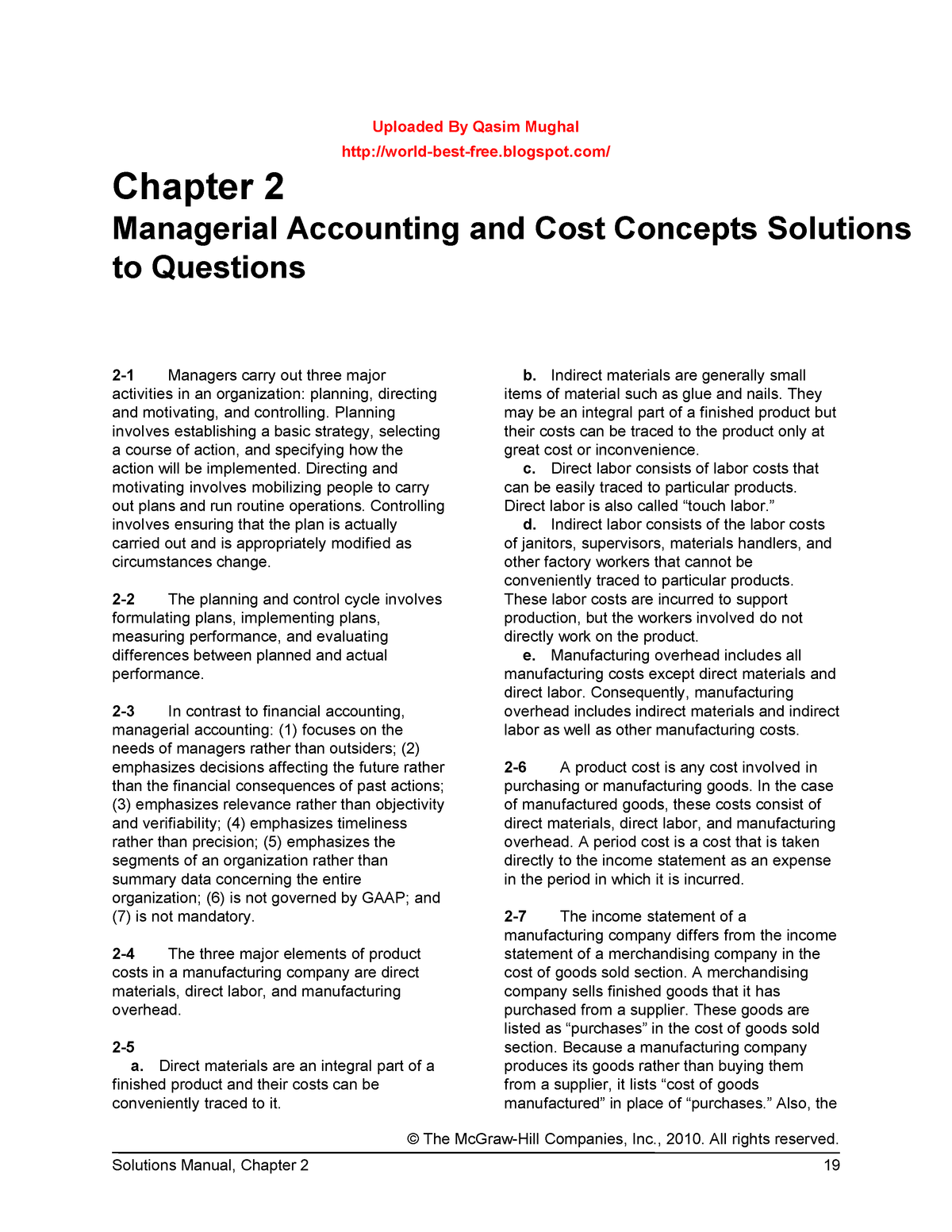 Chap002 - Solution manual Managerial Accounting - LLM 5103