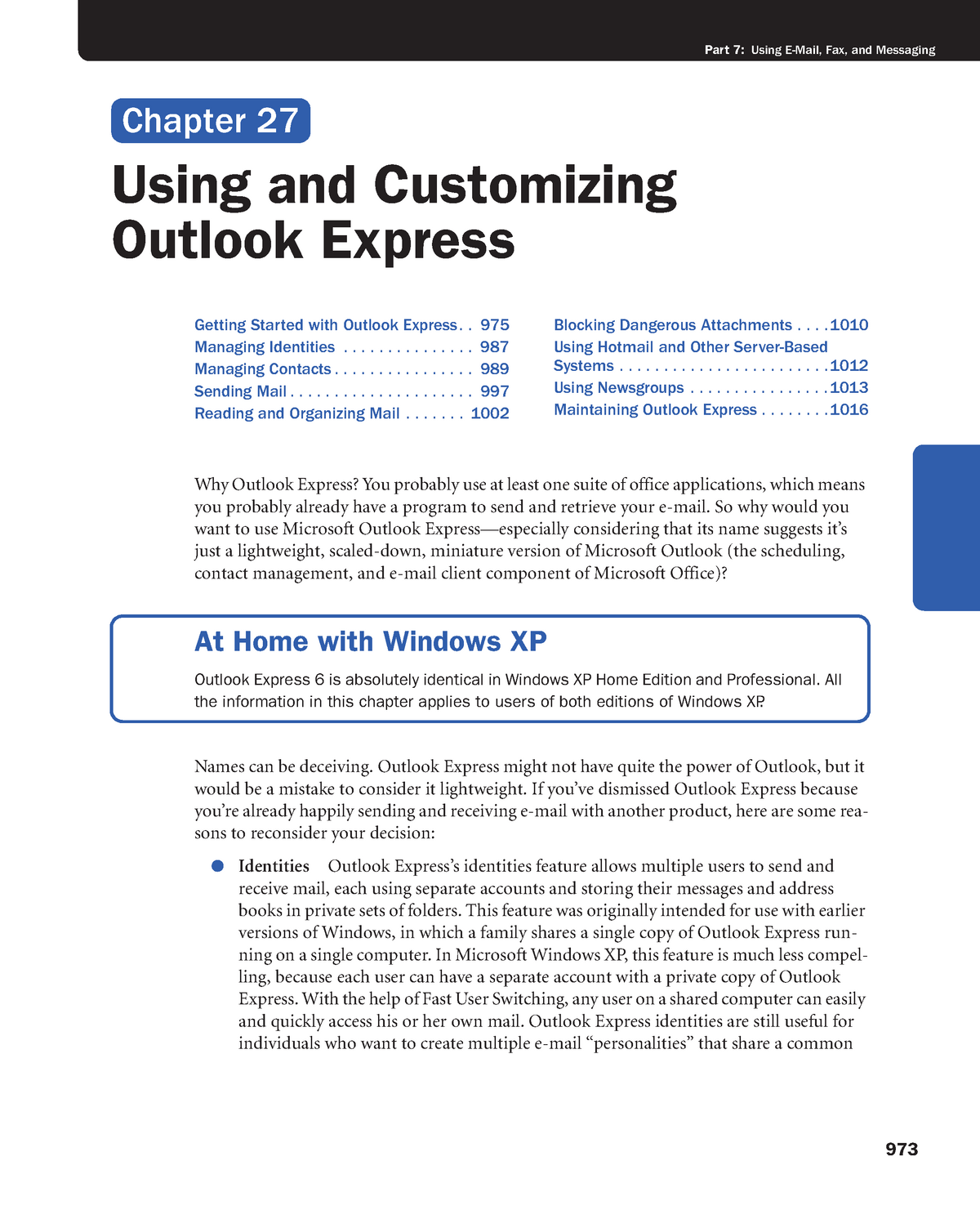 Chapter 27 - Using and Customizing Outlook Express