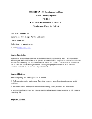 SOC 100 Syllabus Fall 15 Updated Nov  2 - SOC 10000 - Purdue