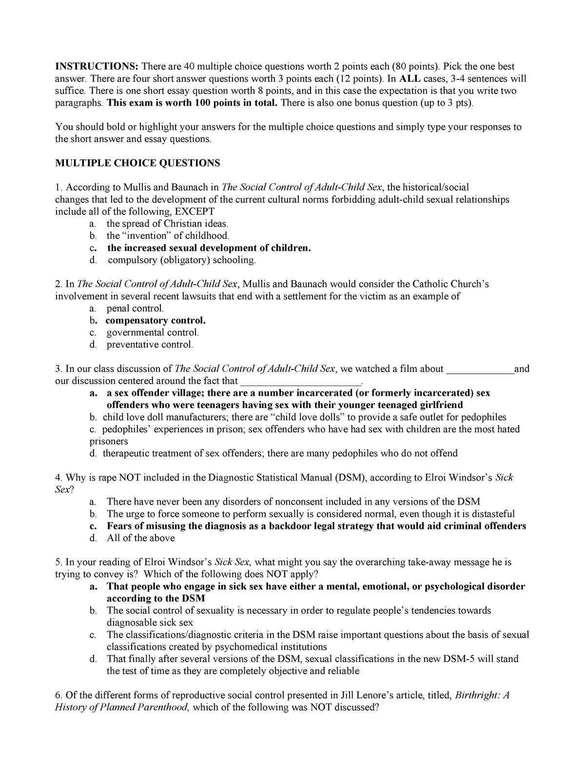 Exam 2017 - SOC 570: Sexual Behavior - StuDocu