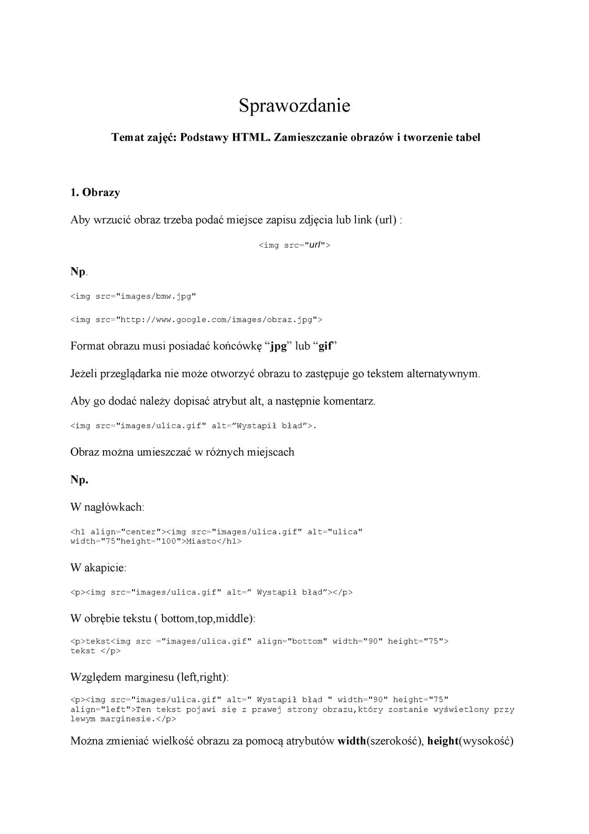 Sprawozdanie Z Podstaw Informatyki 02 01 2018 Pw Studocu