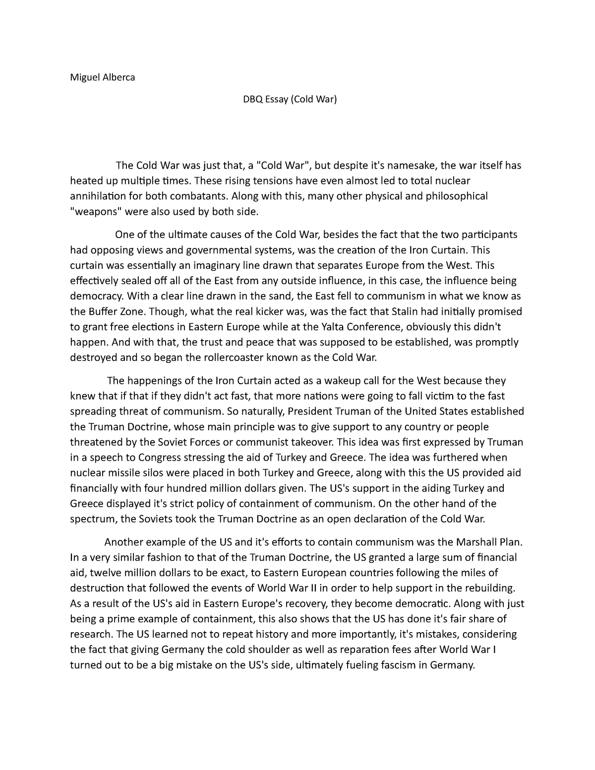 Essays on causes of cold war introduction example for report
