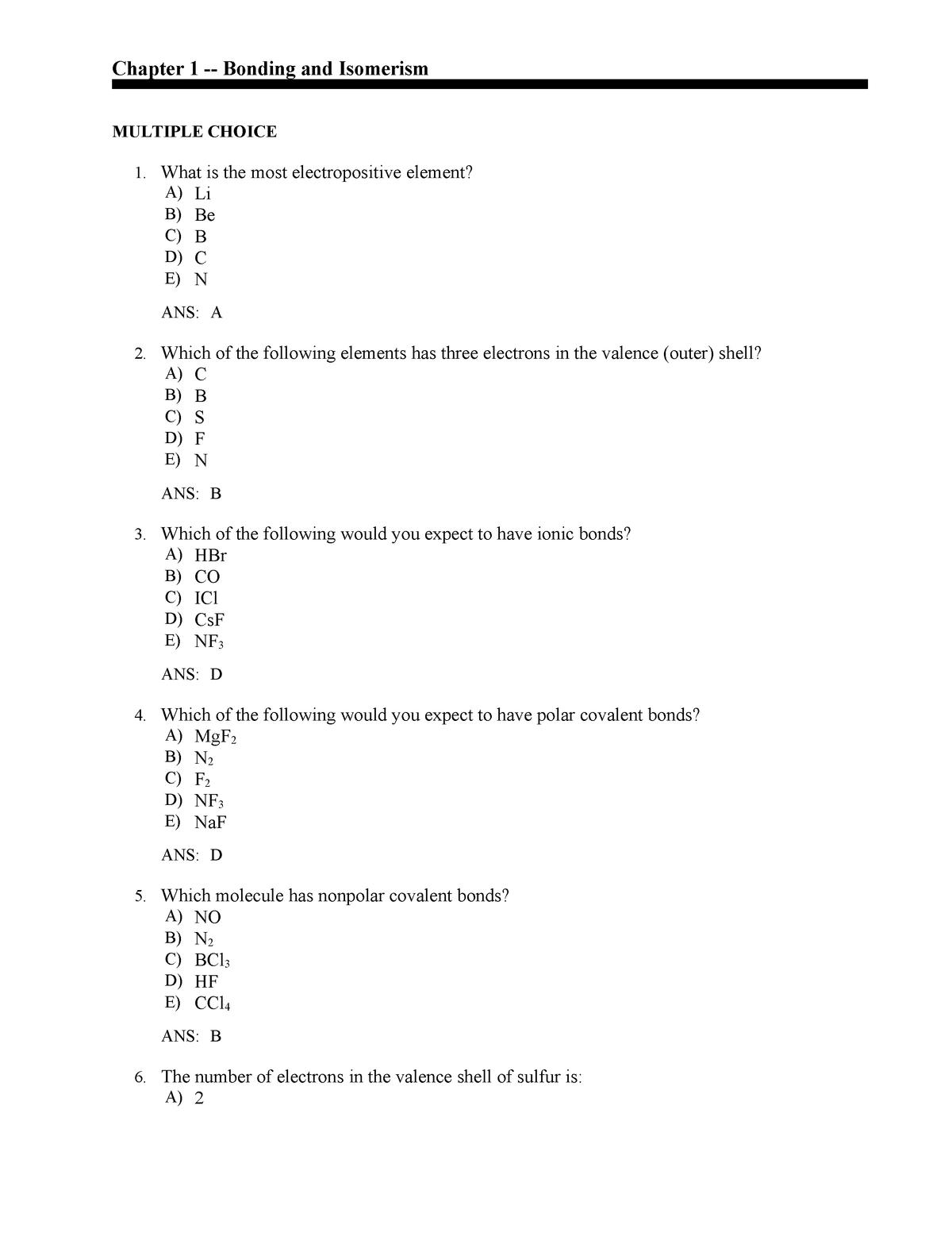Chapter 1 Bonding And Isomerism Multiple Choice Studocu