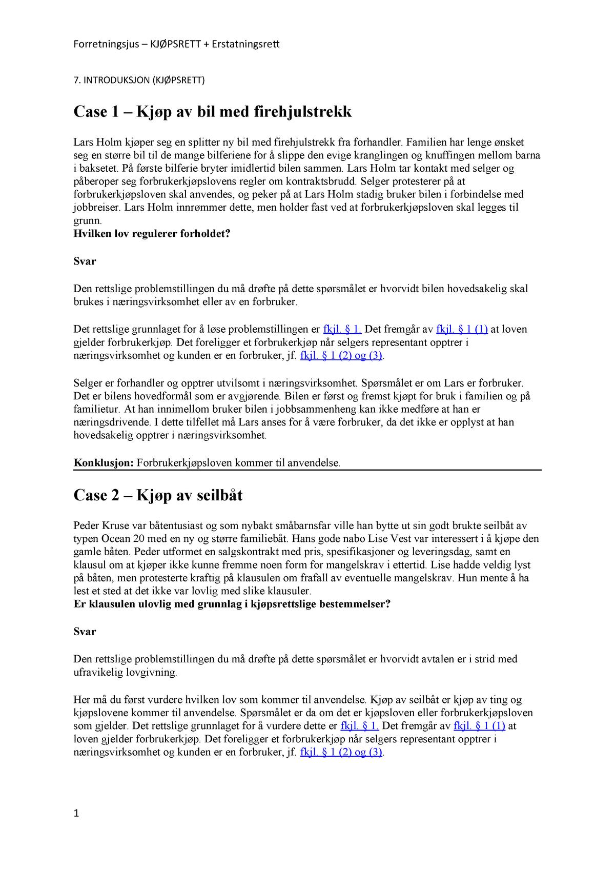 bf4dec7ac Cases-Kjøpsrett-Erstatningsrett - JUR 3420: Forretningsjus - StuDocu