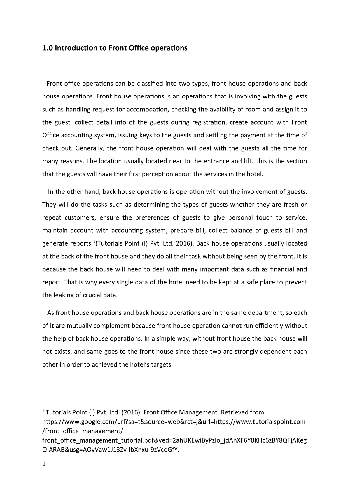 Front office operations  Betcy - 2988: Lengua B I (Inglés) - StuDocu