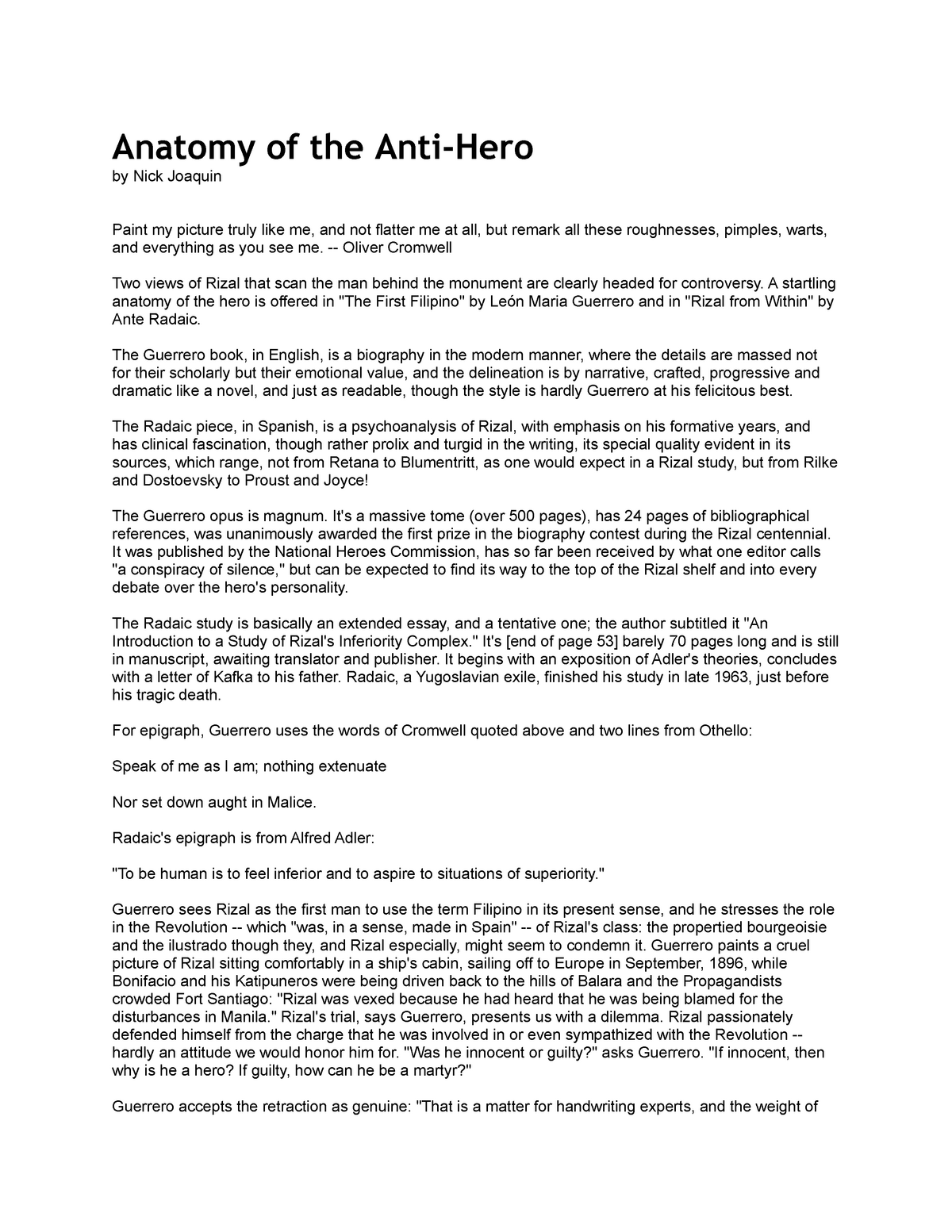 Anatomy of the Anti Hero By Nick Joaquin - GED0102 - StuDocu