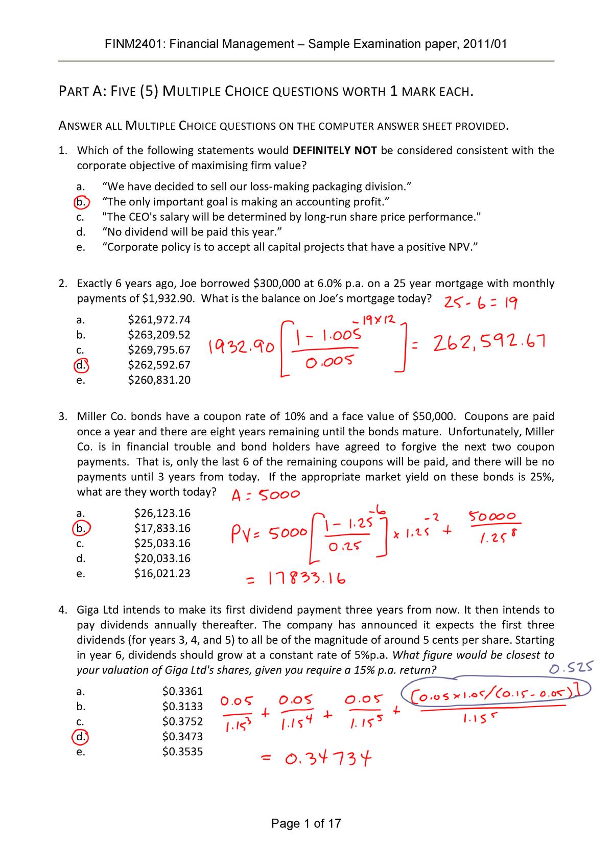 Exam 2011 - FINM2401: Financial Management - StuDocu