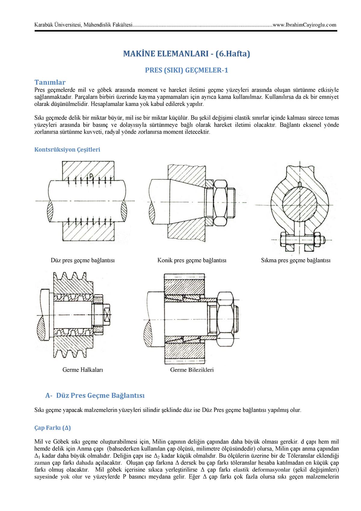 Makine Elemanlari Ders Notlari-6 - StuDocu