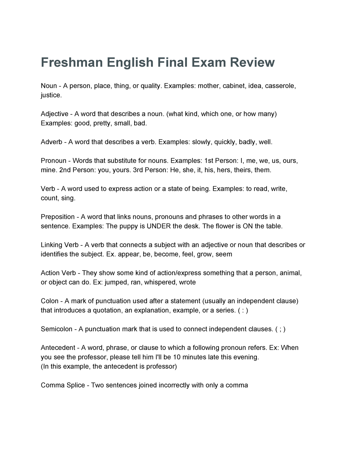 Exam May 1 Spring 2018, questions and answers - ENGL 2030