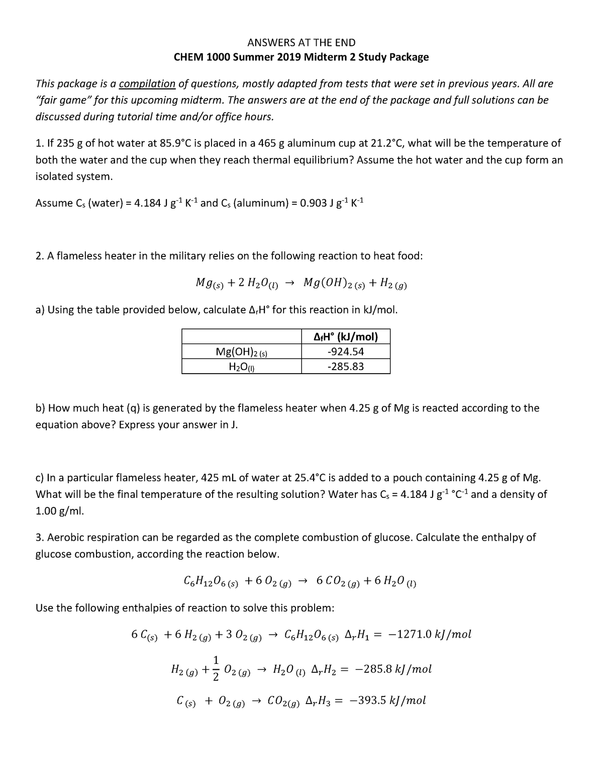 CHEM1000 SU2019 Midterm 2studypackage - Sc/Chem 1000