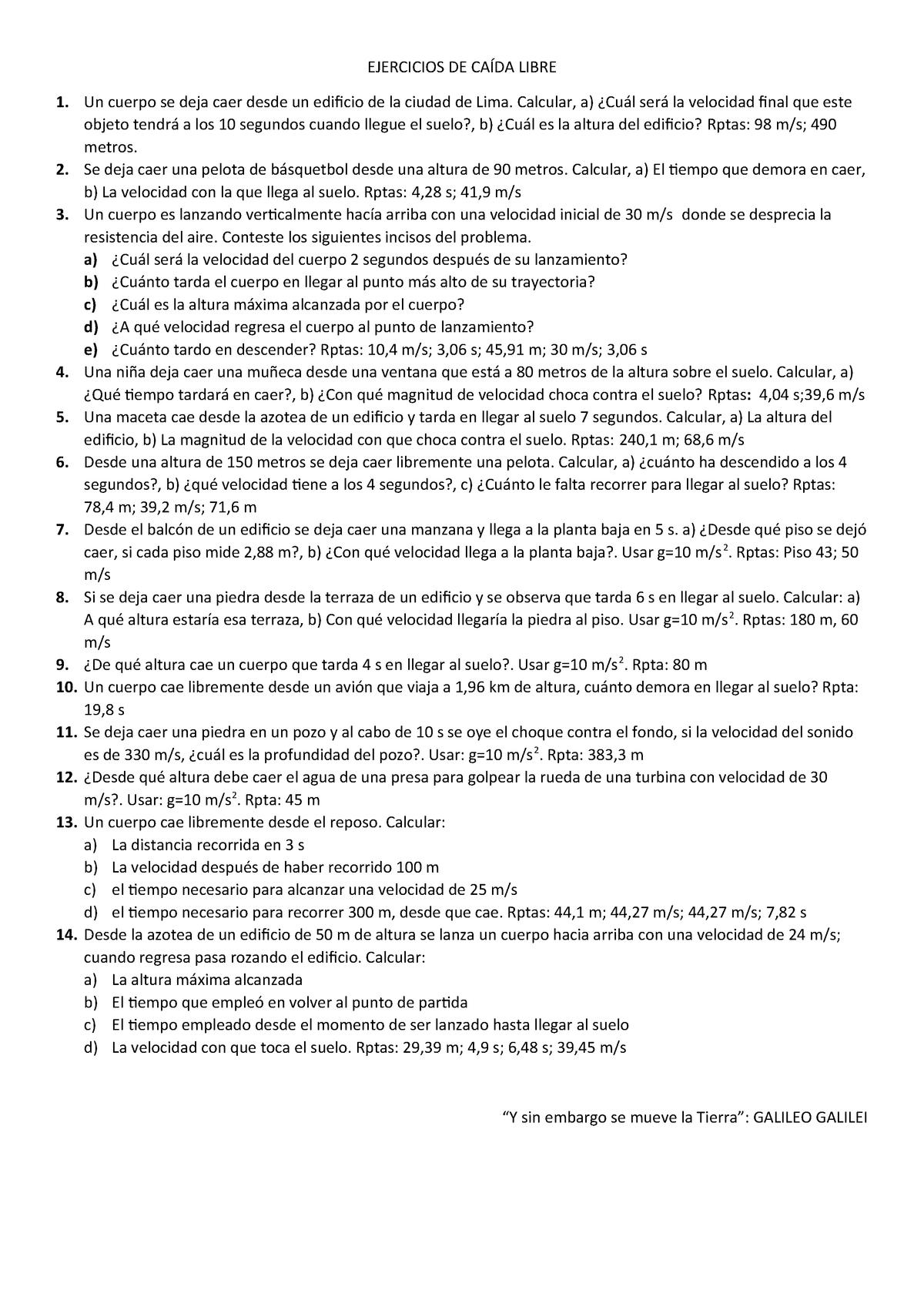 Ejercicios De Caída Libre Física Iii Uni Studocu