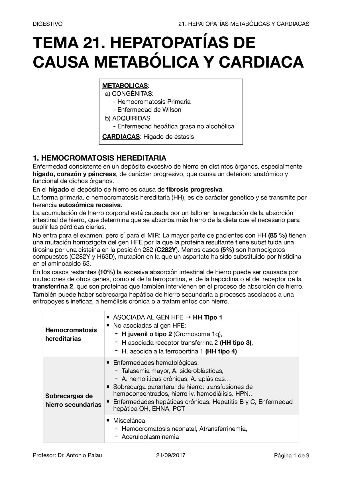 hemocromatosis hereditaria y diabetes mellitus