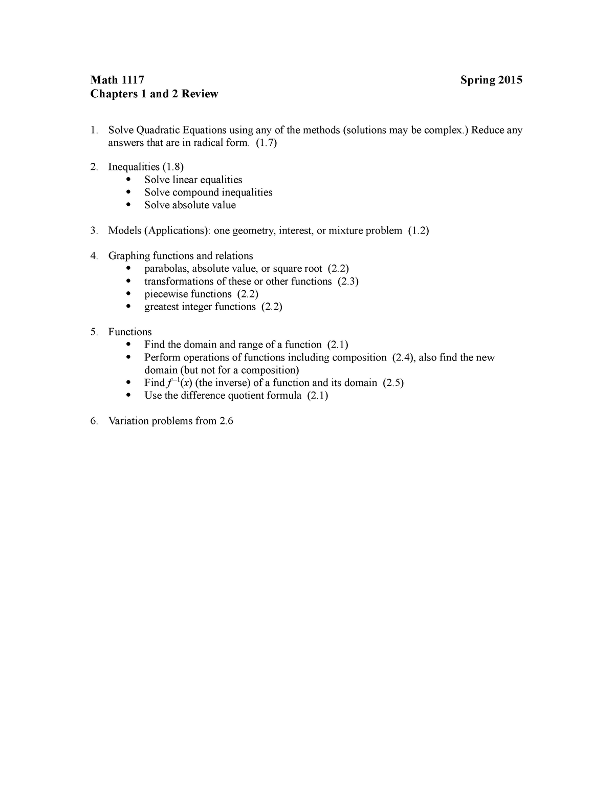 Math 1117 Review 1 and 2 - MATH 1117: Precalculus - StuDocu