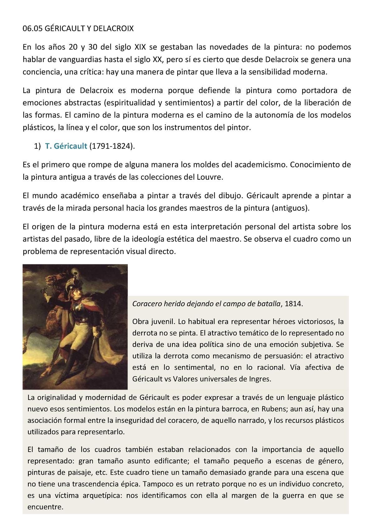 Géricault y Delacroix - Arte Siglo XIX - UPF - StuDocu