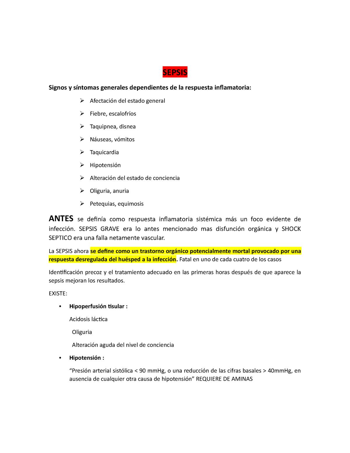 Infección séptica presión arterial