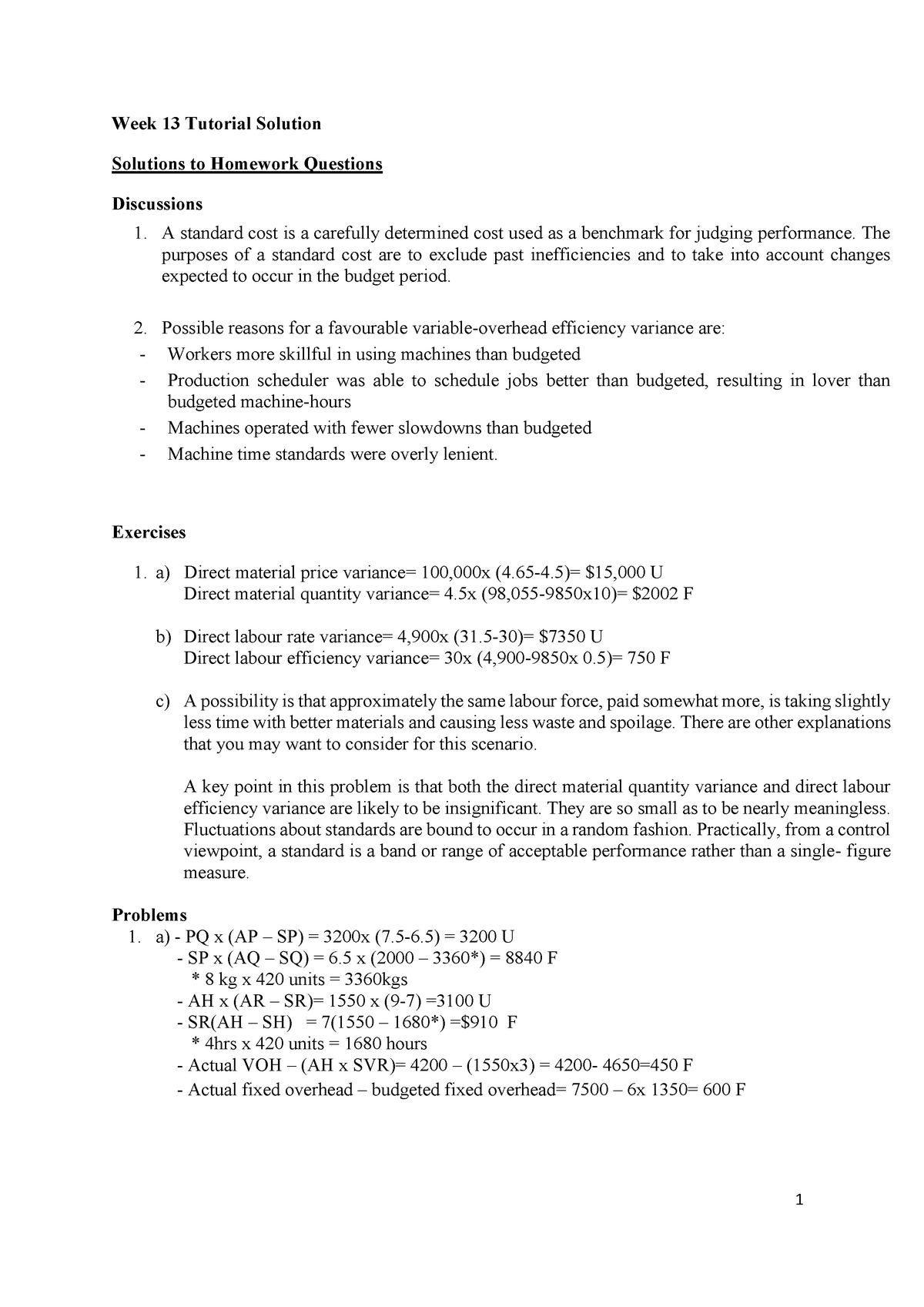 Week 13 Tutorial Solutions - ACCG200: Fundamentals of
