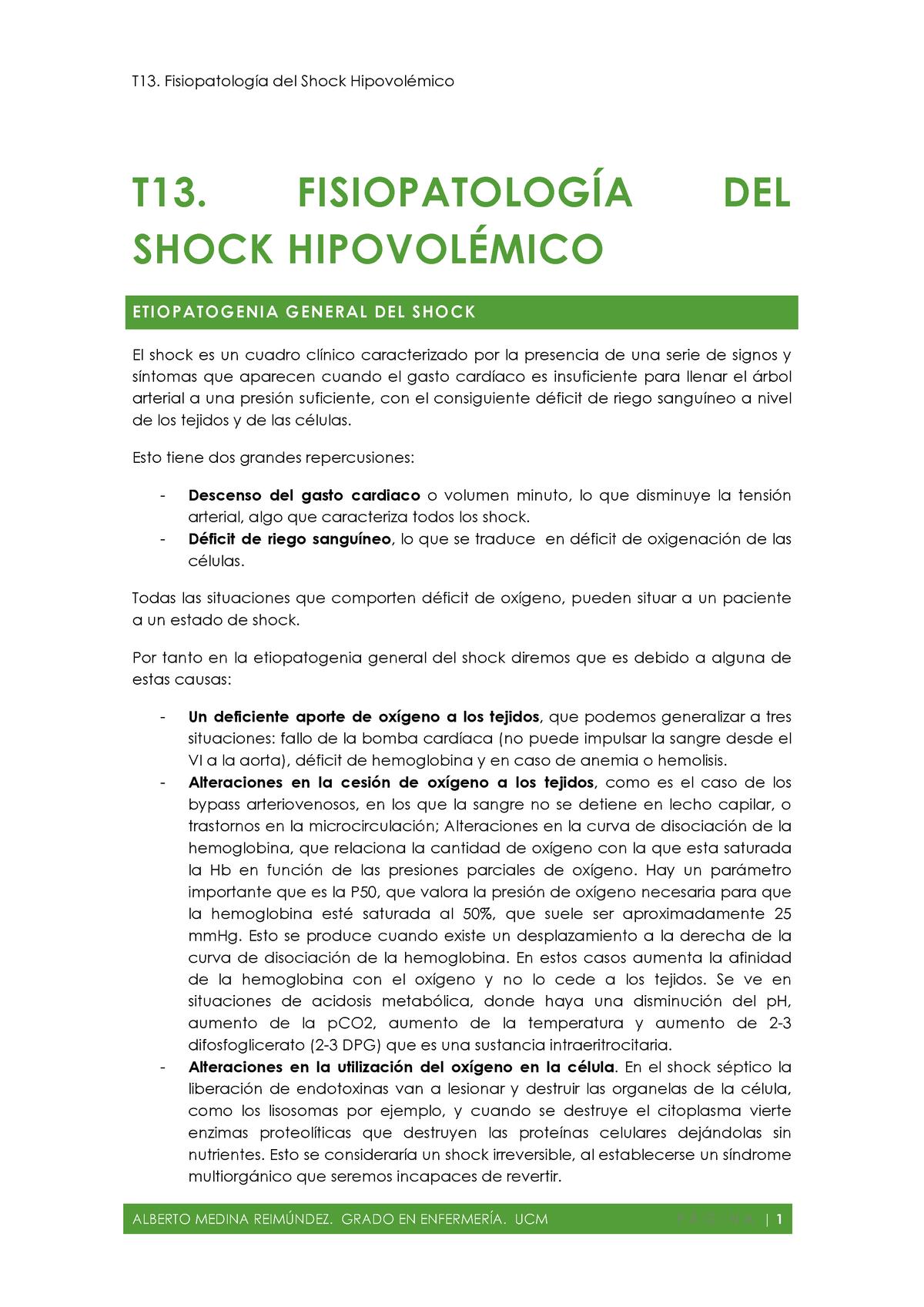 que es shock hipovolemico signos y sintomas
