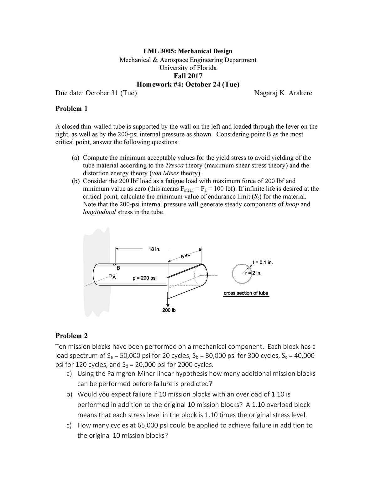 Homework # 4 - EML 3005: Mechanical Design - StuDocu